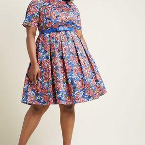 Modcloth Retro Boat Neck Floral Fit & Flare Dress